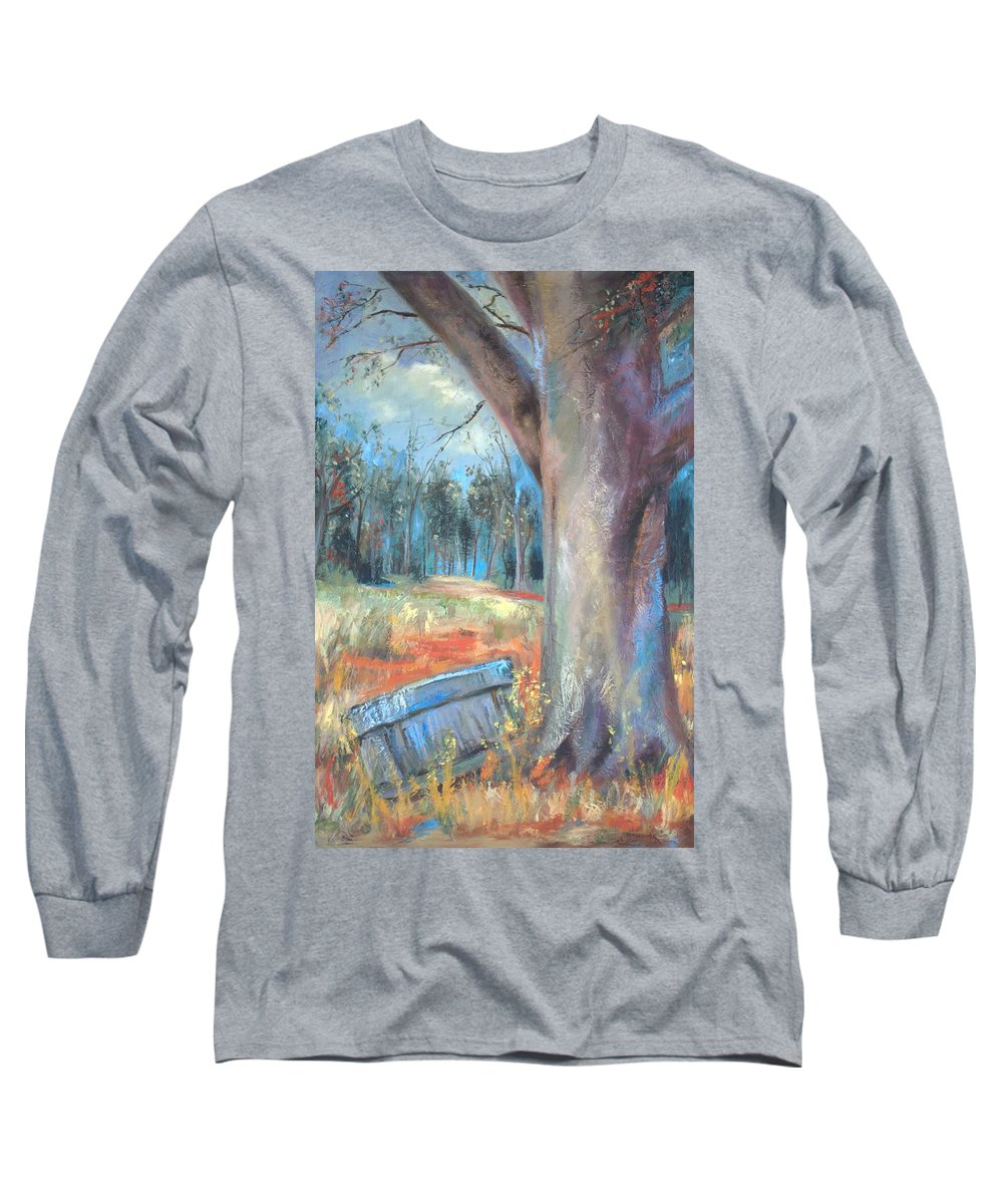 Country Scenes Long Sleeve T-Shirt featuring the painting Old Times by Ginger Concepcion