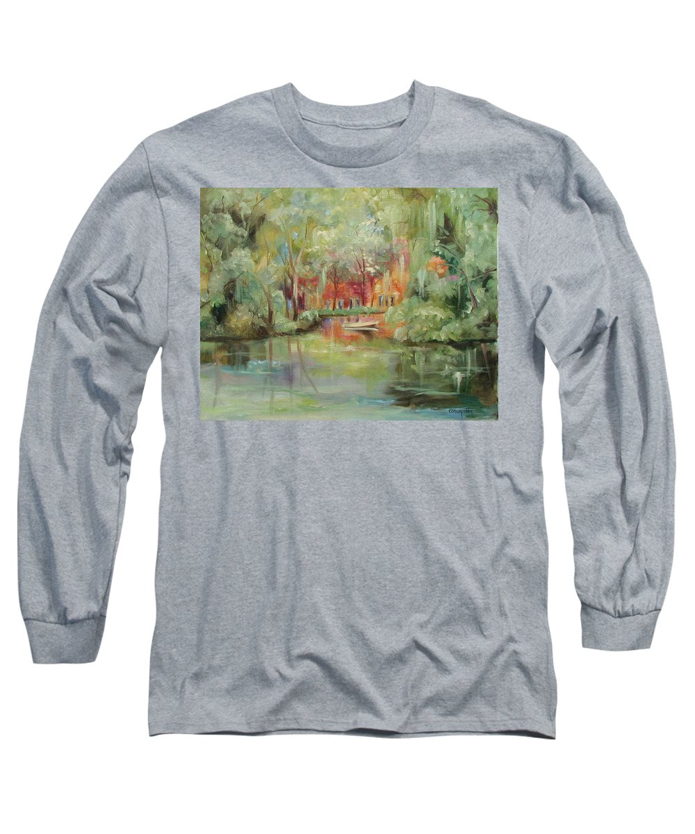 Bayou Long Sleeve T-Shirt featuring the painting On A Bayou by Ginger Concepcion