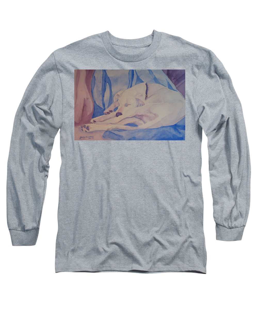 Dog Long Sleeve T-Shirt featuring the painting On Fallen Blankets by Jenny Armitage