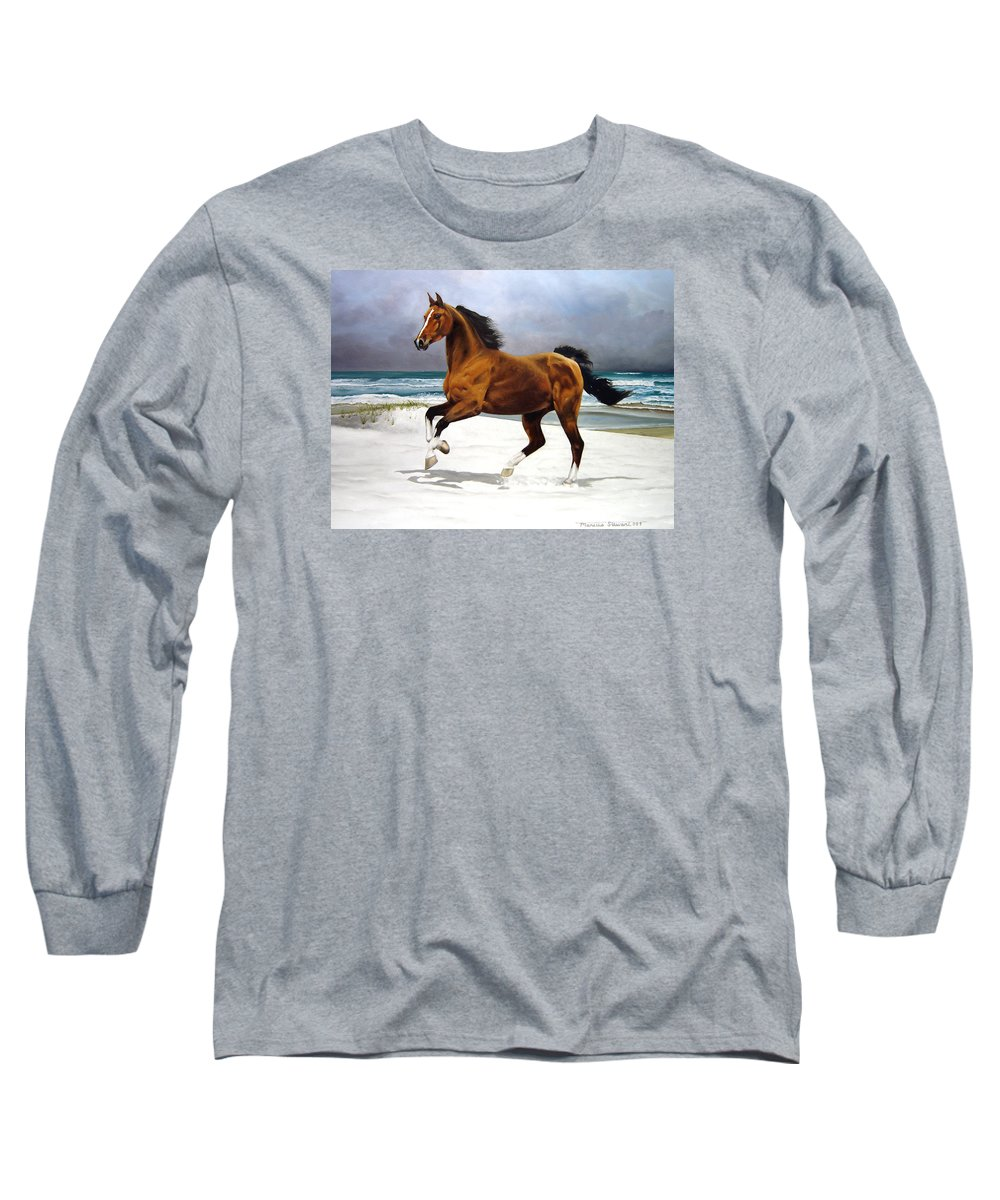 Horse Long Sleeve T-Shirt featuring the painting On The Beach by Marc Stewart