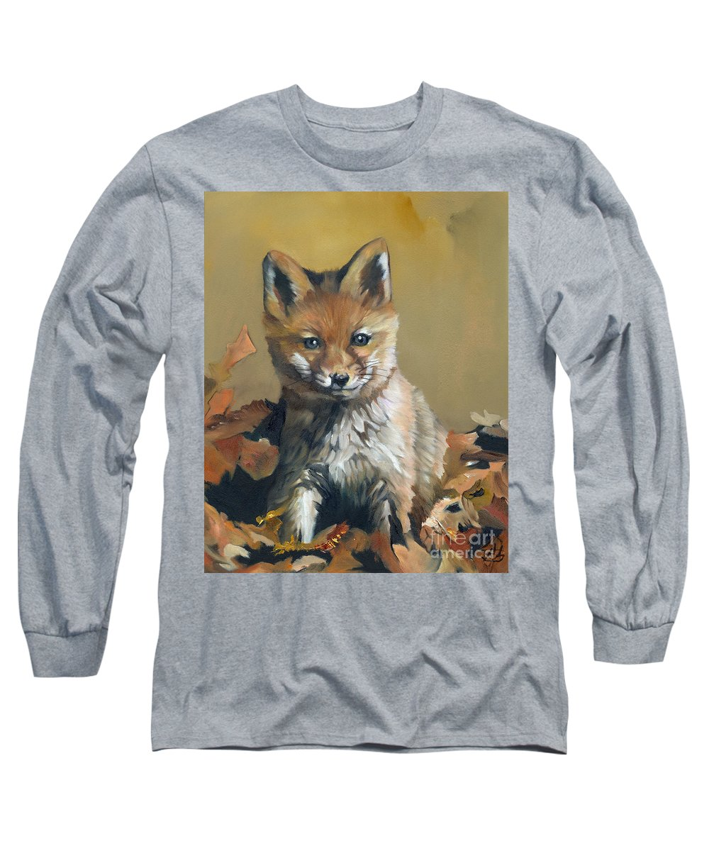 Fox Long Sleeve T-Shirt featuring the painting Once Upon A Time by J W Baker