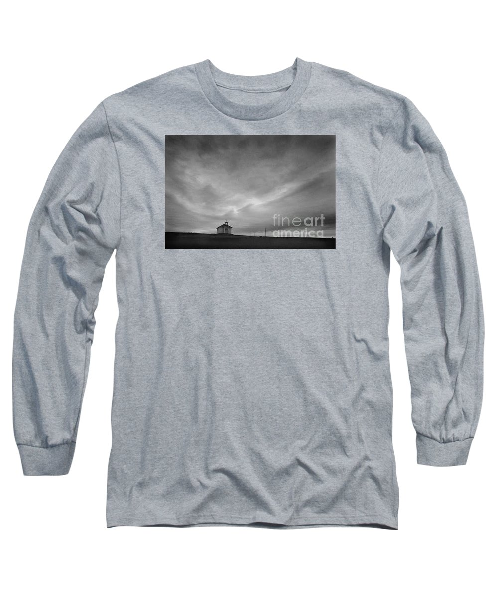 Landscape Long Sleeve T-Shirt featuring the photograph One Room Schoolhouse by Michael Ziegler