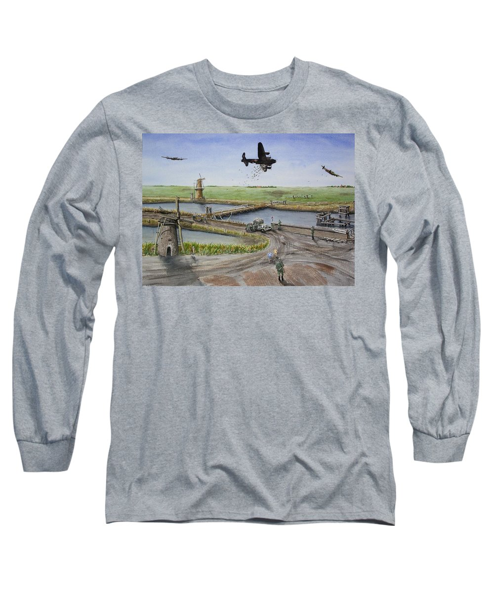 Lancaster Bomber Long Sleeve T-Shirt featuring the painting Operation Manna IIi by Gale Cochran-Smith