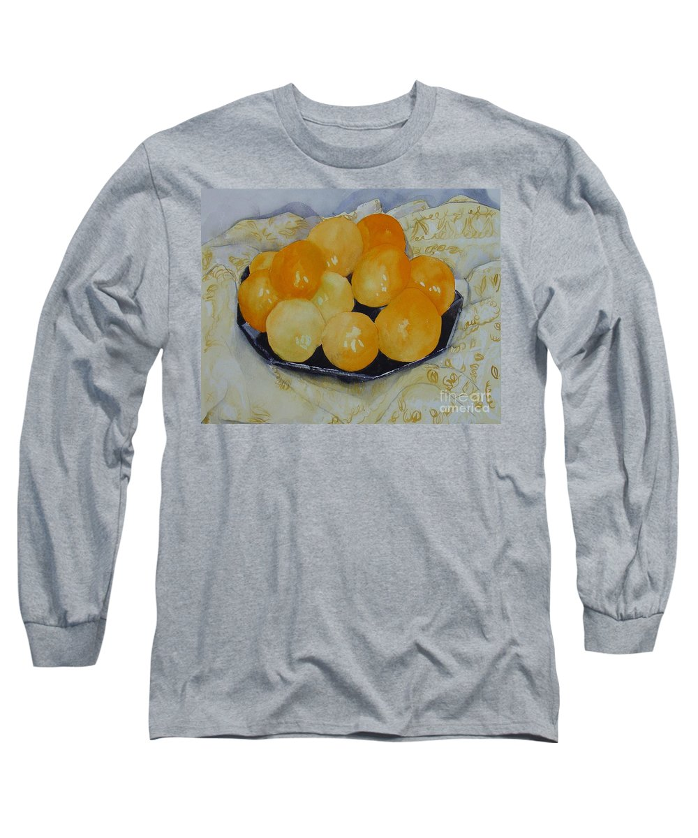 Still Life Watercolor Original Leilaatkinson Oranges Long Sleeve T-Shirt featuring the painting Oranges by Leila Atkinson