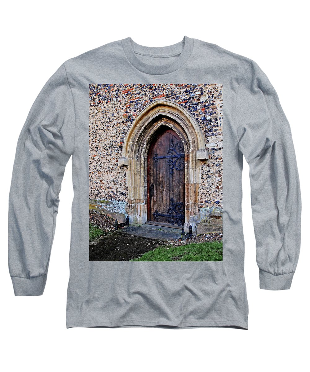 Old Wooden Door Long Sleeve T-Shirt featuring the photograph Ornate Hinges On Ancient Church Door by Gill Billington
