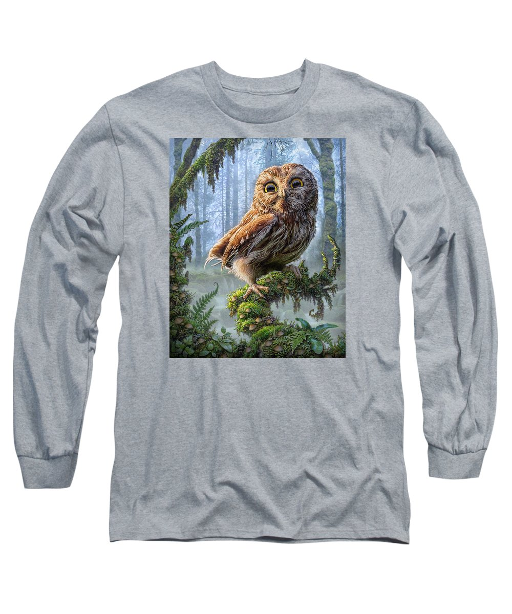Owl Long Sleeve T-Shirt featuring the mixed media Owl Perch by Phil Jaeger
