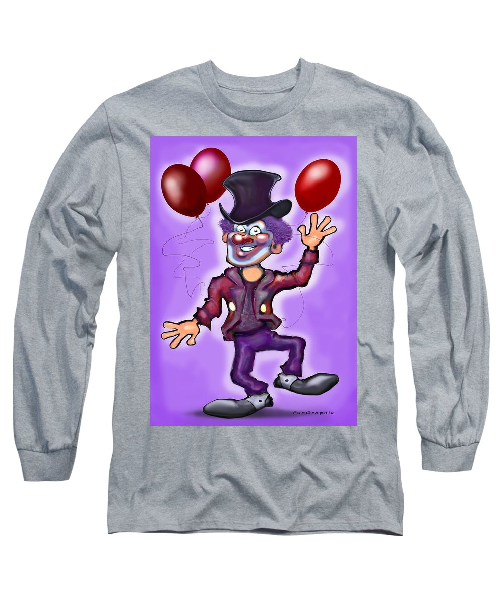 Clown Long Sleeve T-Shirt featuring the greeting card Party Clown by Kevin Middleton
