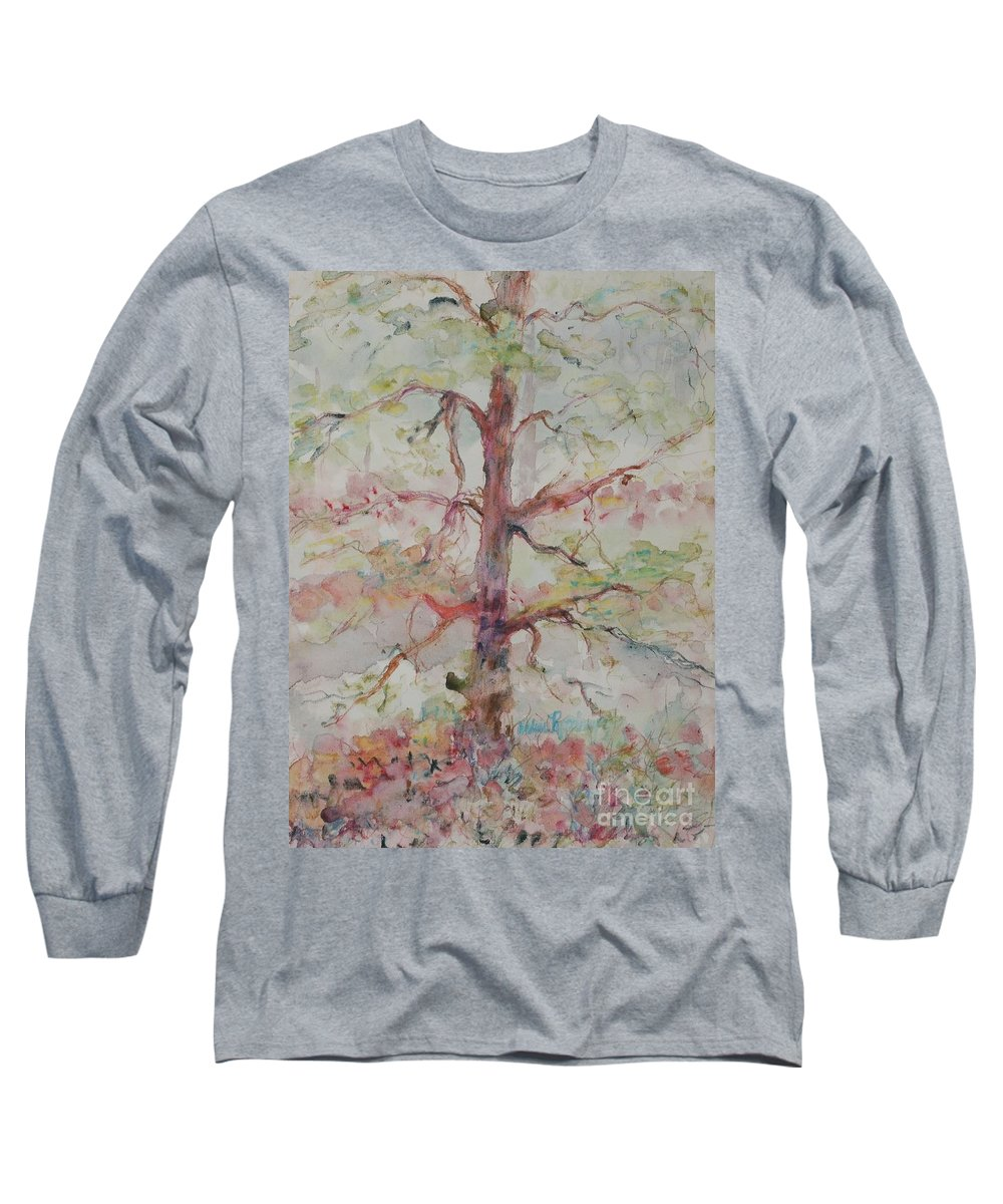 Forest Long Sleeve T-Shirt featuring the painting Pastel Forest by Nadine Rippelmeyer