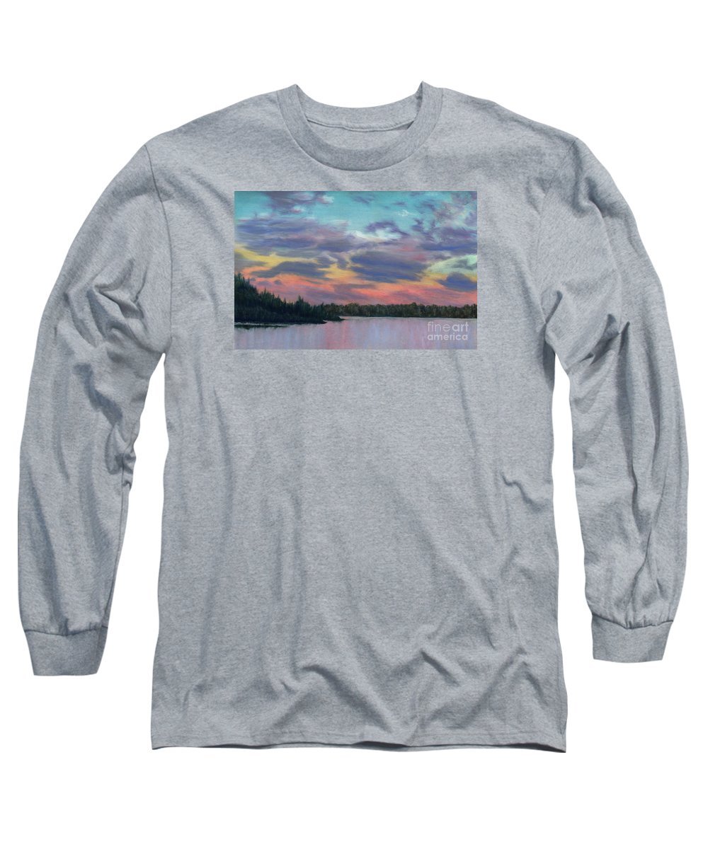 Landscape Long Sleeve T-Shirt featuring the painting Pastel Sunset by Lynn Quinn