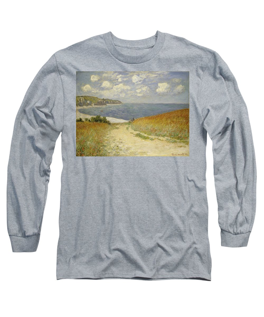Path In The Wheat At Pourville Long Sleeve T-Shirt featuring the painting Path In The Wheat At Pourville by Claude Monet