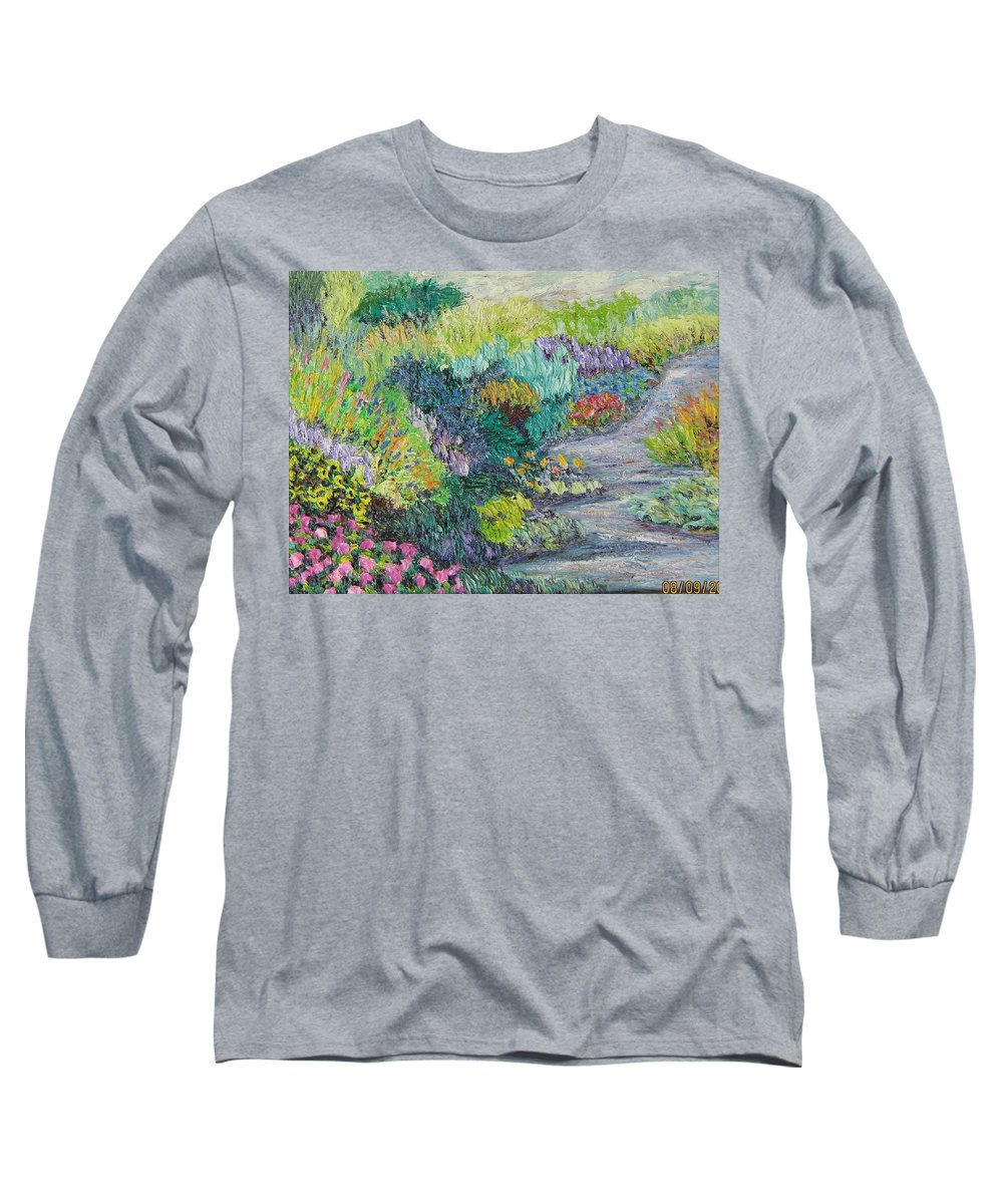 Flowers Long Sleeve T-Shirt featuring the painting Pathway Of Flowers by Richard Nowak