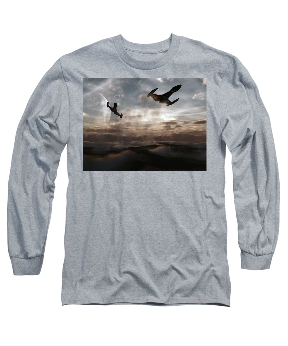 Sci-fi Long Sleeve T-Shirt featuring the digital art Patrol Of Sector 9 by Richard Rizzo