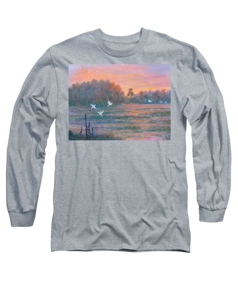 Low Country; Egrets; Sunset Long Sleeve T-Shirt featuring the painting Pawleys Island by Ben Kiger