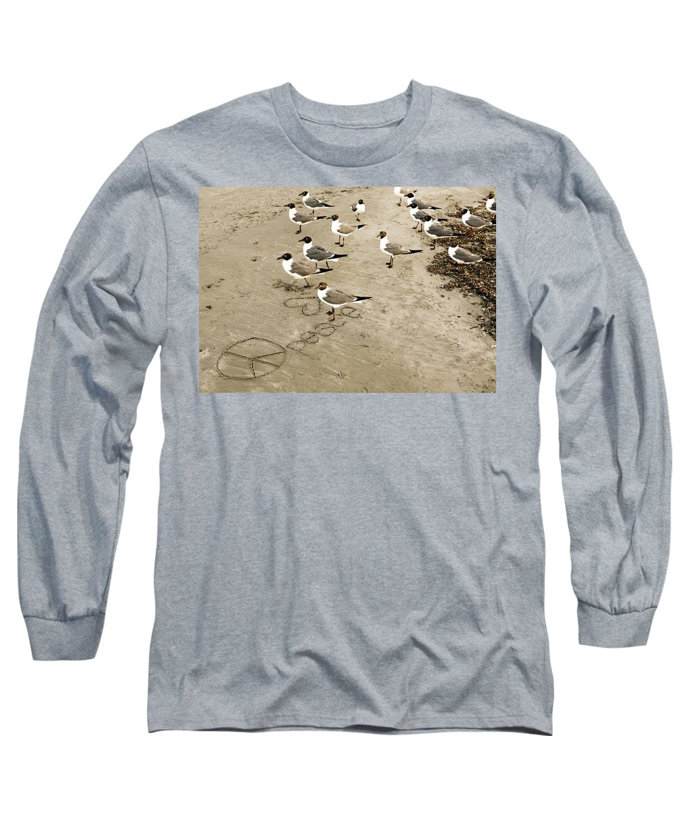 Americana Long Sleeve T-Shirt featuring the photograph Peace On The Beach by Marilyn Hunt
