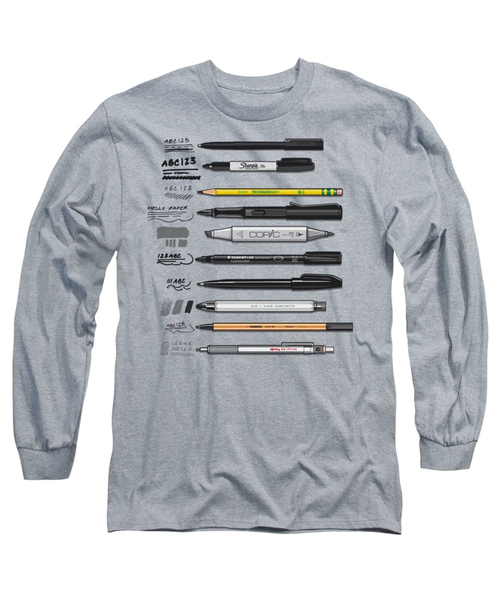 Uniball Micro Roller Pen Long Sleeve T-Shirt featuring the mixed media Pen Collection For Sketching And Drawing by Tom Mayer II Monkey Crisis On Mars