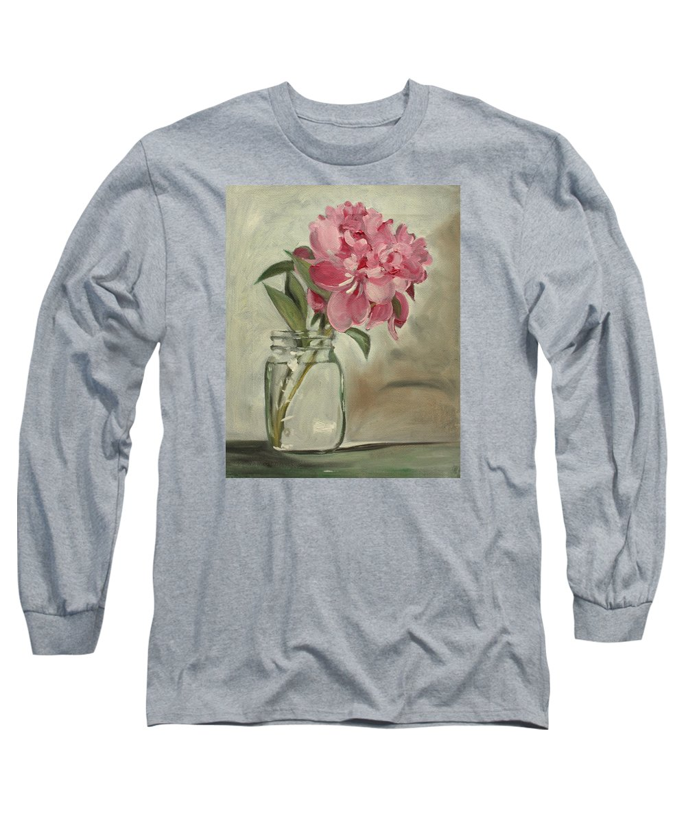 Still-life Long Sleeve T-Shirt featuring the painting Peony by Sarah Lynch