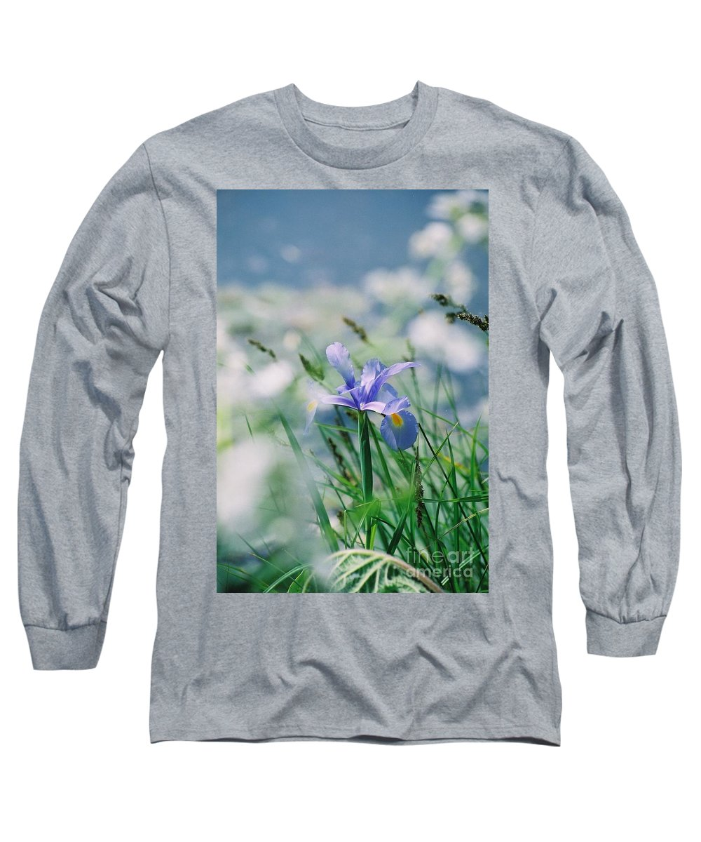 Periwinkle Long Sleeve T-Shirt featuring the photograph Periwinkle Iris by Nadine Rippelmeyer