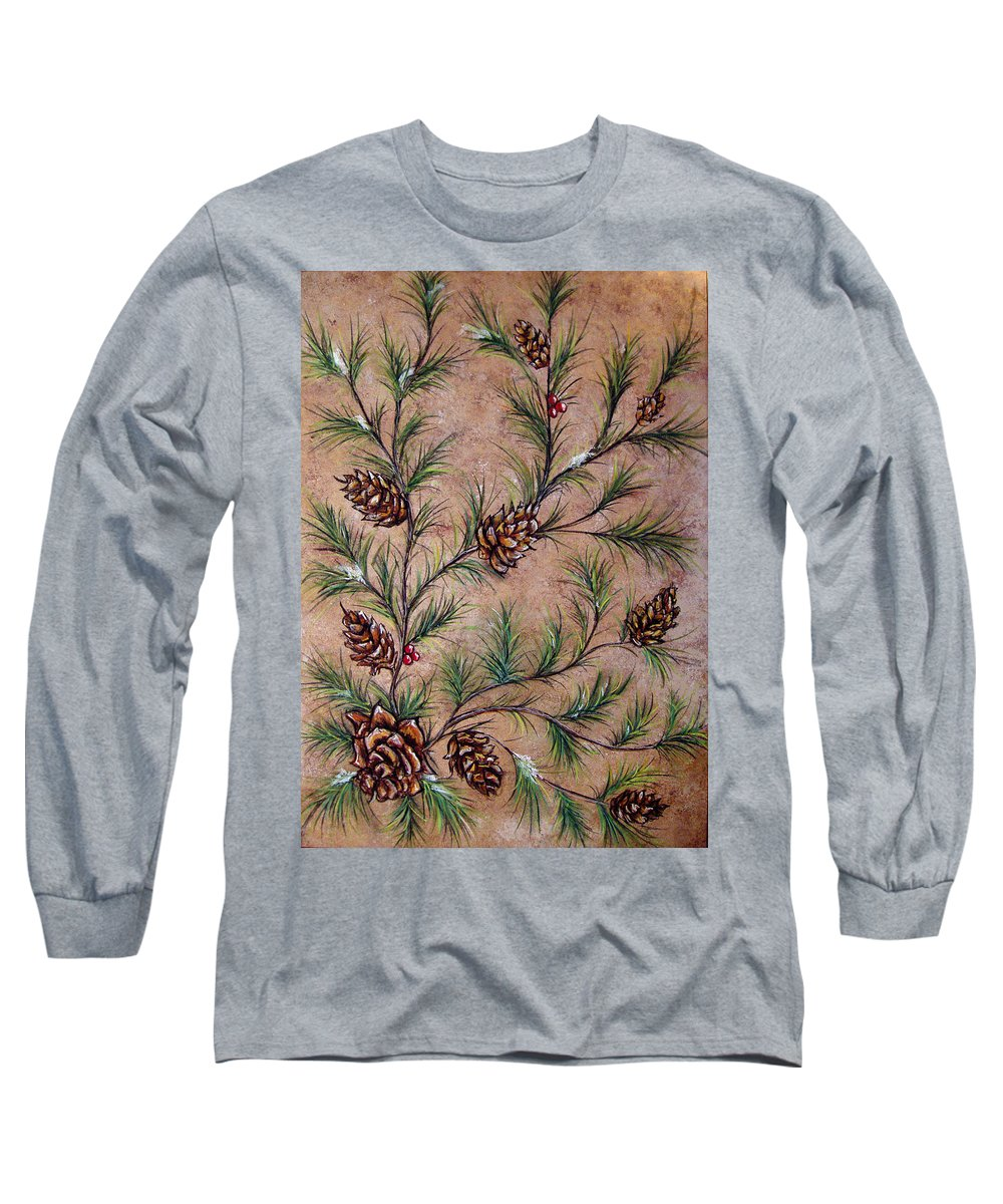 Acrylic Long Sleeve T-Shirt featuring the painting Pine Cones And Spruce Branches by Nancy Mueller