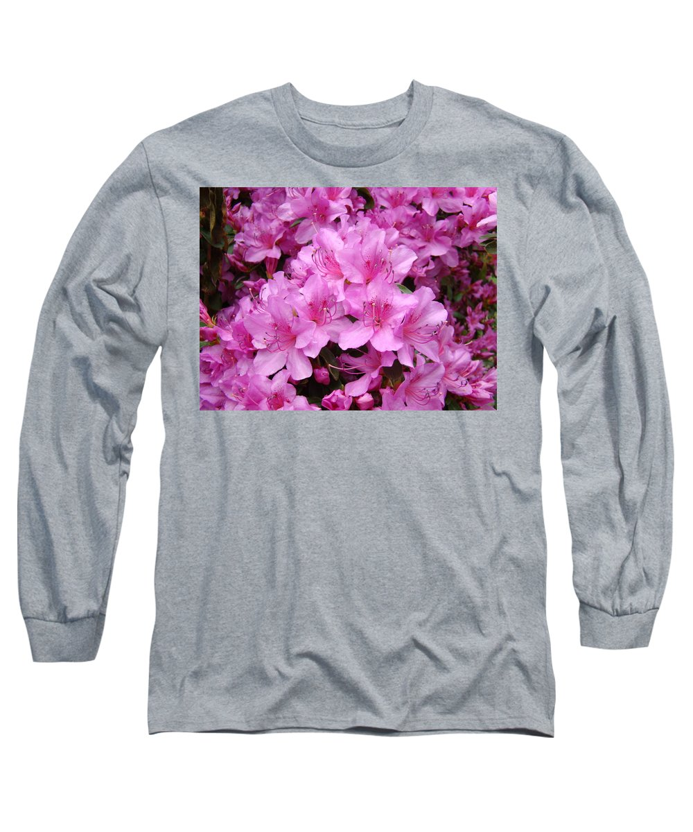 �azaleas Artwork� Long Sleeve T-Shirt featuring the photograph Pink Azaleas Summer Garden 6 Azalea Flowers Giclee Art Prints Baslee Troutman by Baslee Troutman