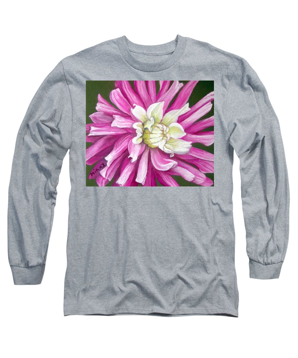 Floral Long Sleeve T-Shirt featuring the painting Pink Petal Blast by Minaz Jantz