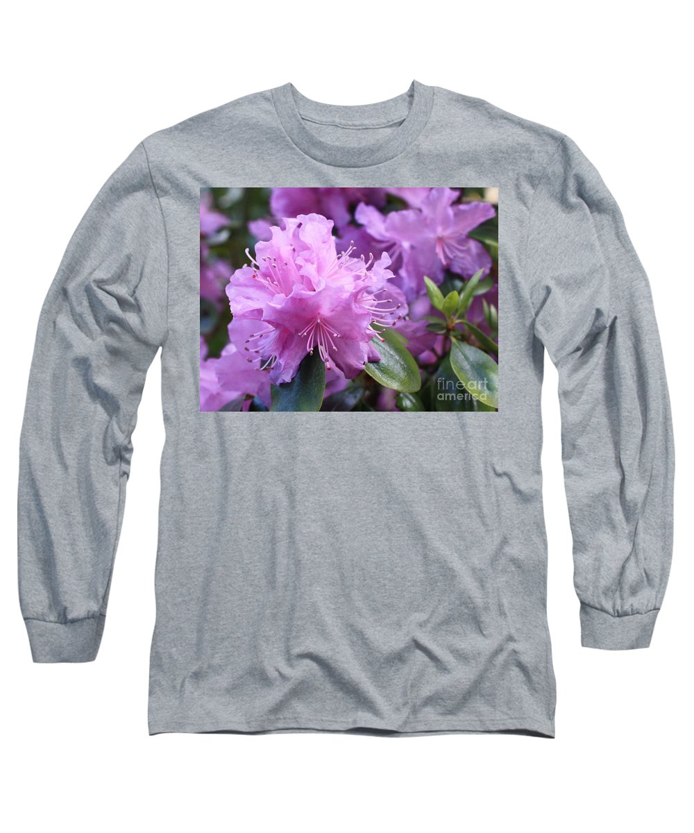 Flower Long Sleeve T-Shirt featuring the photograph Light Purple Rhododendron With Leaves by Carol Groenen