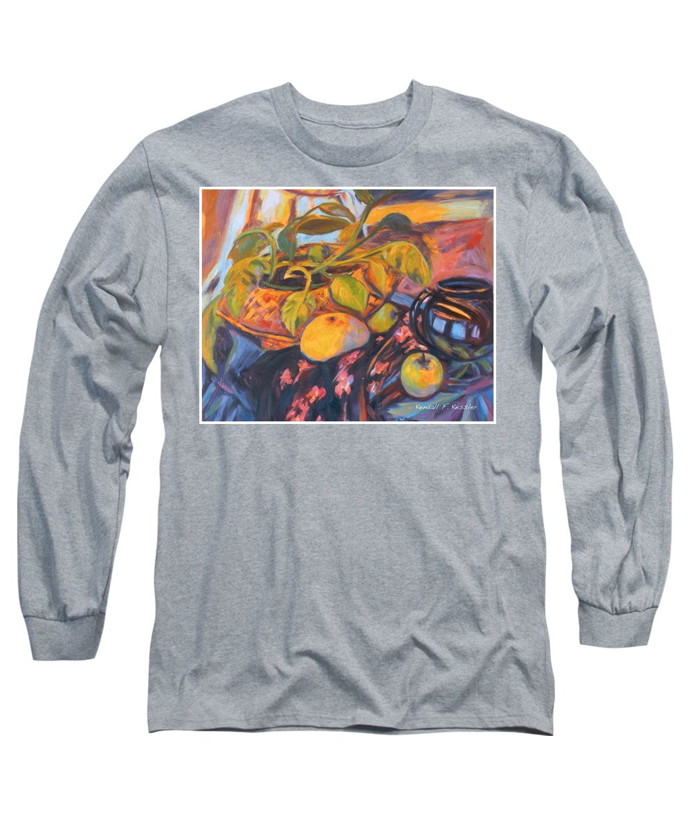Still Life Long Sleeve T-Shirt featuring the painting Pollys Plant by Kendall Kessler