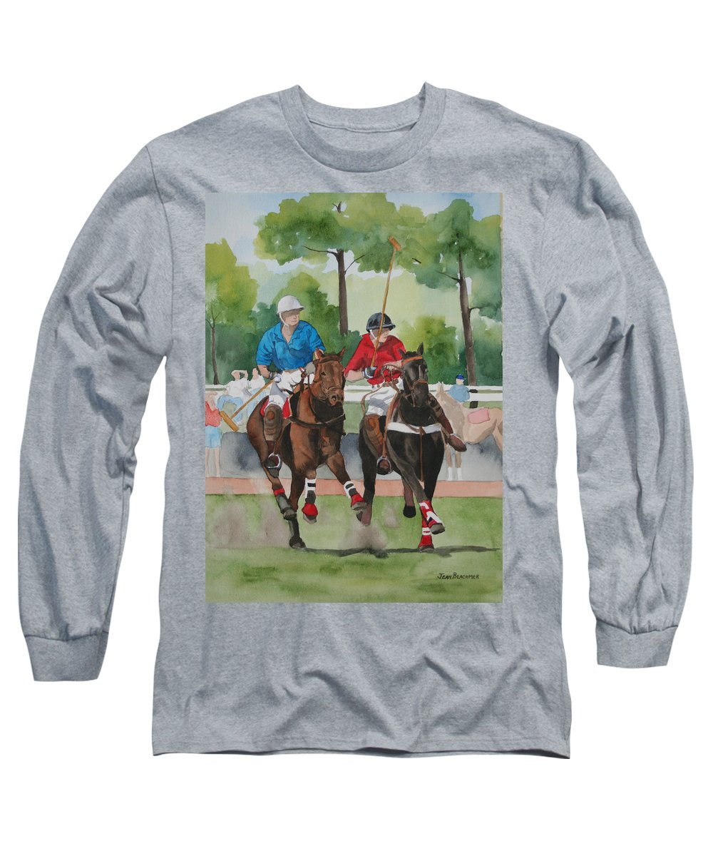 Polo Long Sleeve T-Shirt featuring the painting Polo In The Afternoon 2 by Jean Blackmer