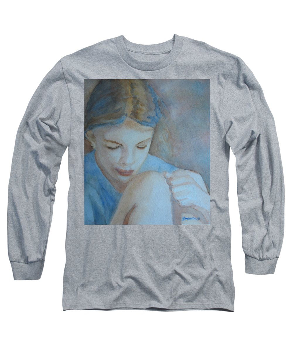 Girl Long Sleeve T-Shirt featuring the painting Pondering by Jenny Armitage