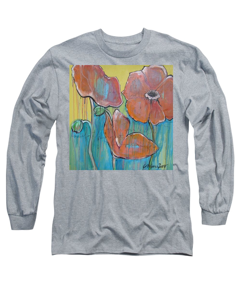 Pop Art Long Sleeve T-Shirt featuring the painting Poppies 3 by Laurie Maves ART