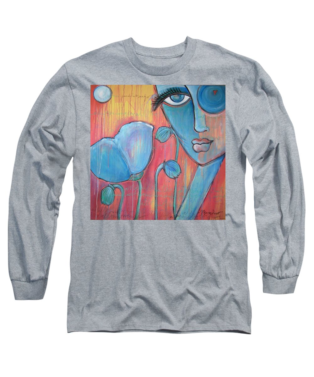 Pop Art Long Sleeve T-Shirt featuring the painting Poppies 7 Luna Let Me Go by Laurie Maves ART