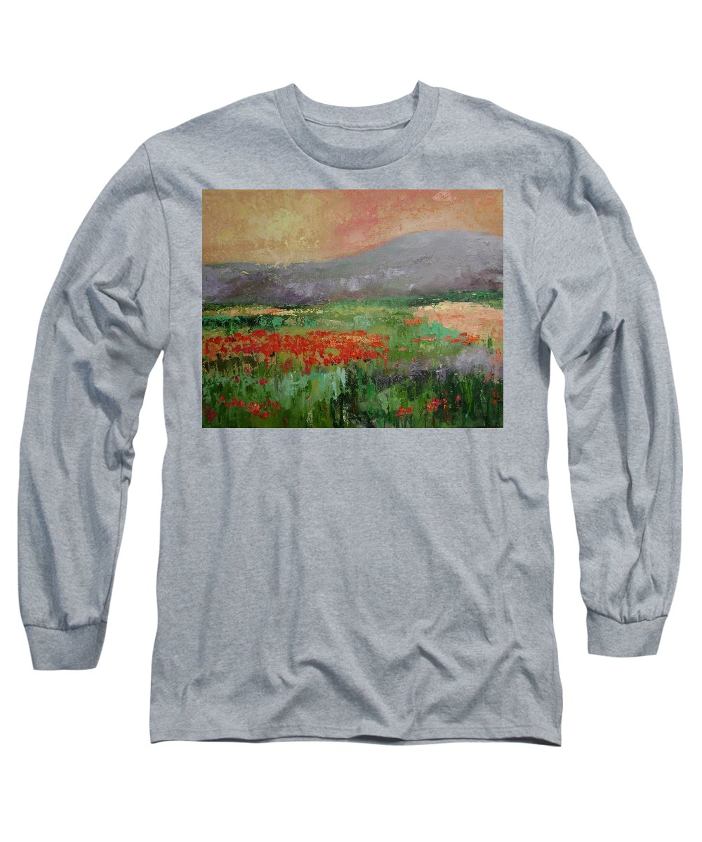 Poppies Long Sleeve T-Shirt featuring the painting Poppyfield by Ginger Concepcion