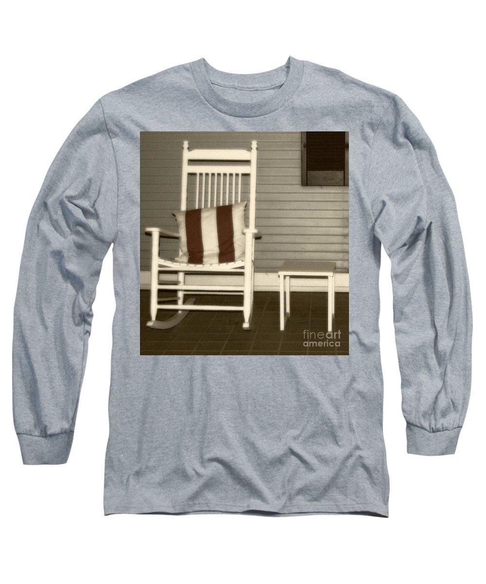 Rocking Chair Long Sleeve T-Shirt featuring the photograph Porch Rocker by Debbi Granruth