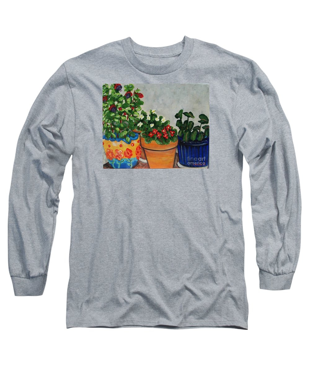 Ceramic Pots Long Sleeve T-Shirt featuring the painting Pots Showing Off by Laurie Morgan