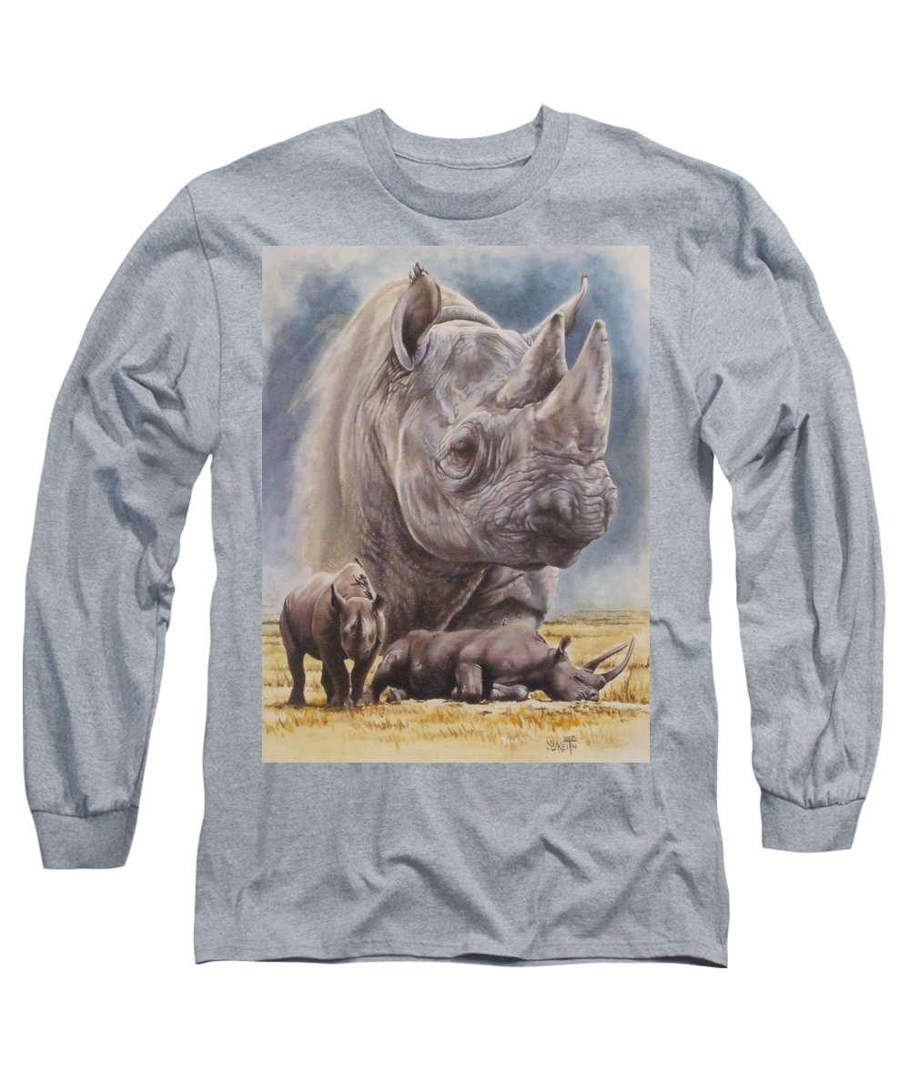 Wildlife Long Sleeve T-Shirt featuring the mixed media Precarious by Barbara Keith