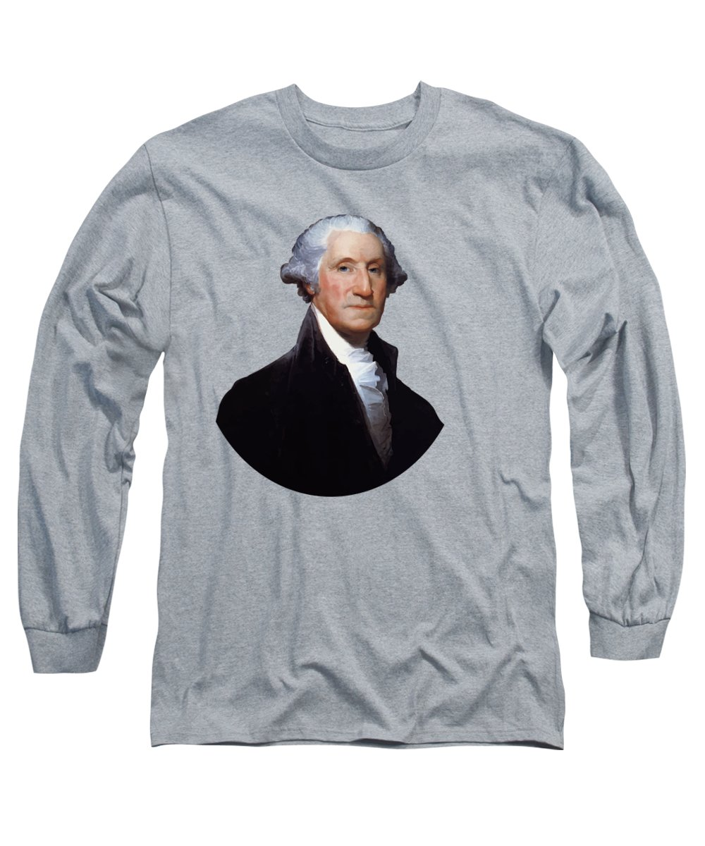 George Washington Long Sleeve T-Shirt featuring the painting President George Washington by War Is Hell Store
