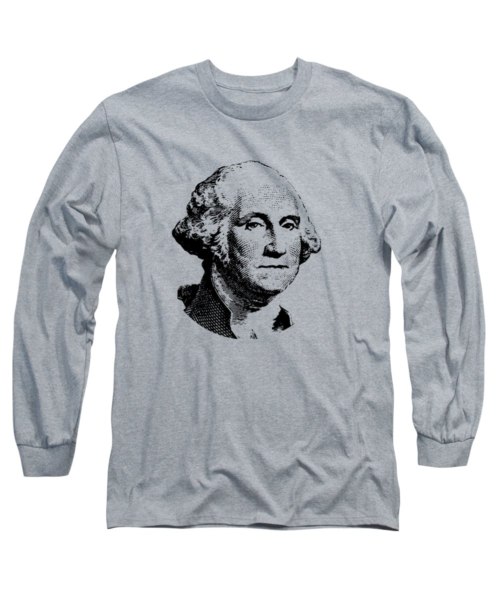 General George Washington Long Sleeve T-Shirt featuring the digital art President Washington by War Is Hell Store