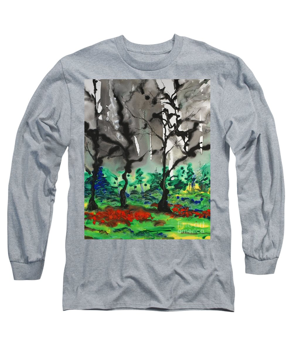 Forest Long Sleeve T-Shirt featuring the painting Primary Forest by Nadine Rippelmeyer