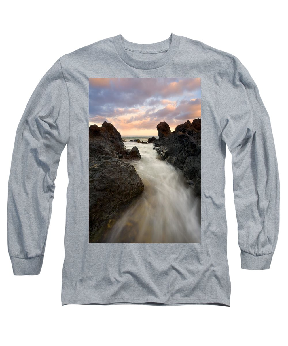 Sunrise Long Sleeve T-Shirt featuring the photograph Primordial Tides by Mike Dawson
