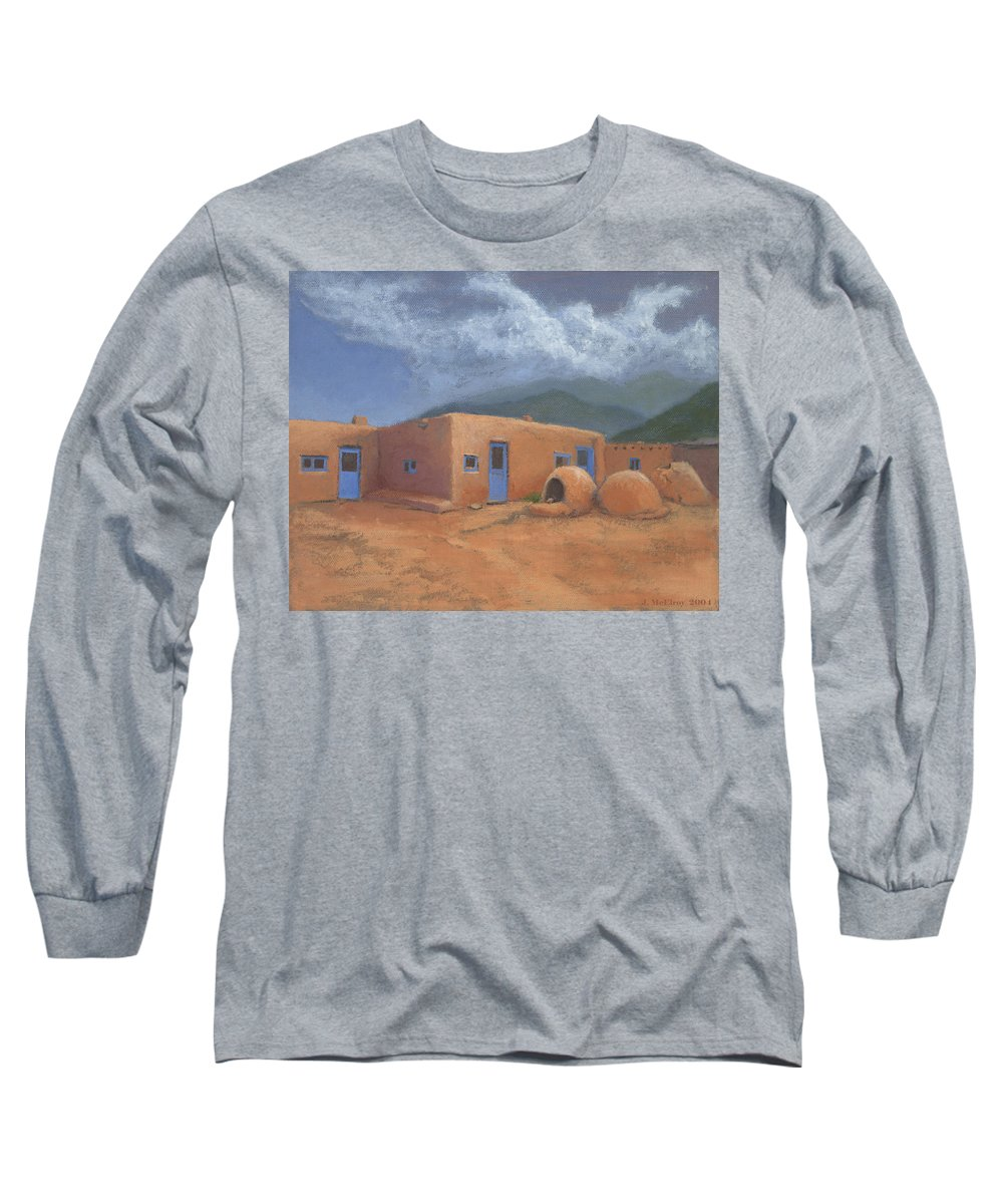 Taos Long Sleeve T-Shirt featuring the painting Puertas Azul by Jerry McElroy