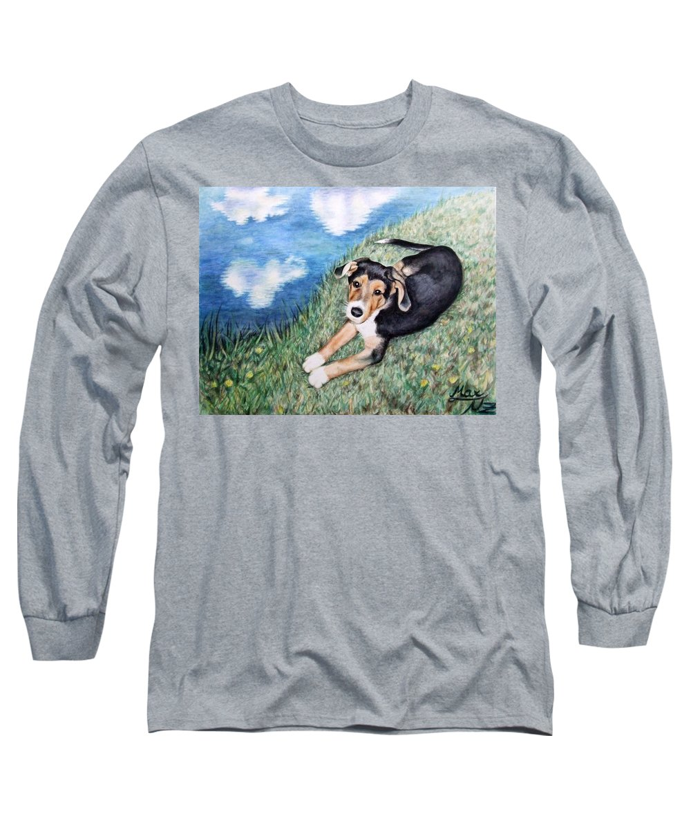 Dog Long Sleeve T-Shirt featuring the painting Puppy Max by Nicole Zeug