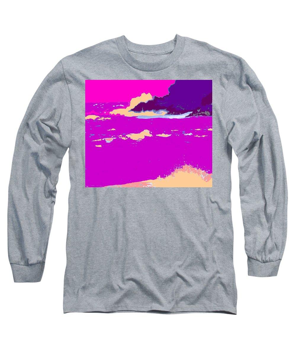Waves Long Sleeve T-Shirt featuring the photograph Purple Crashing Waves by Ian MacDonald