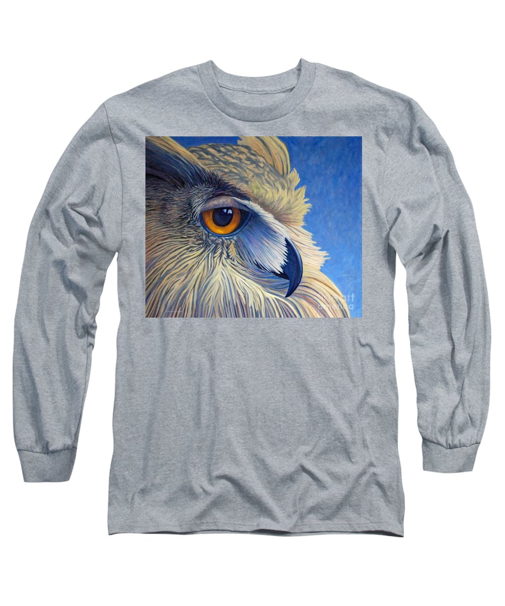 Owl Long Sleeve T-Shirt featuring the painting Quiet Joy by Brian Commerford
