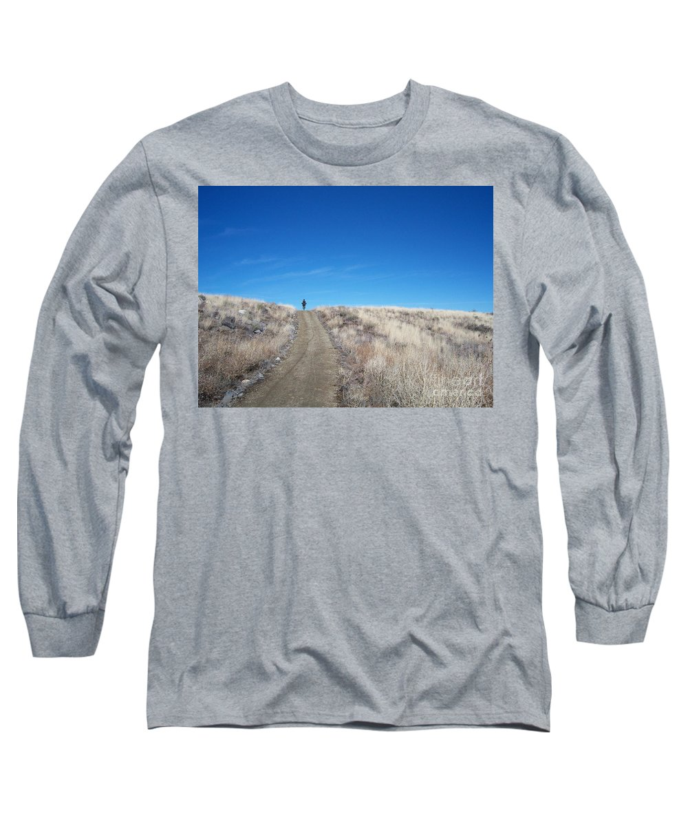 Racing Bike Long Sleeve T-Shirt featuring the photograph Racing Over The Horizon by Heather Kirk
