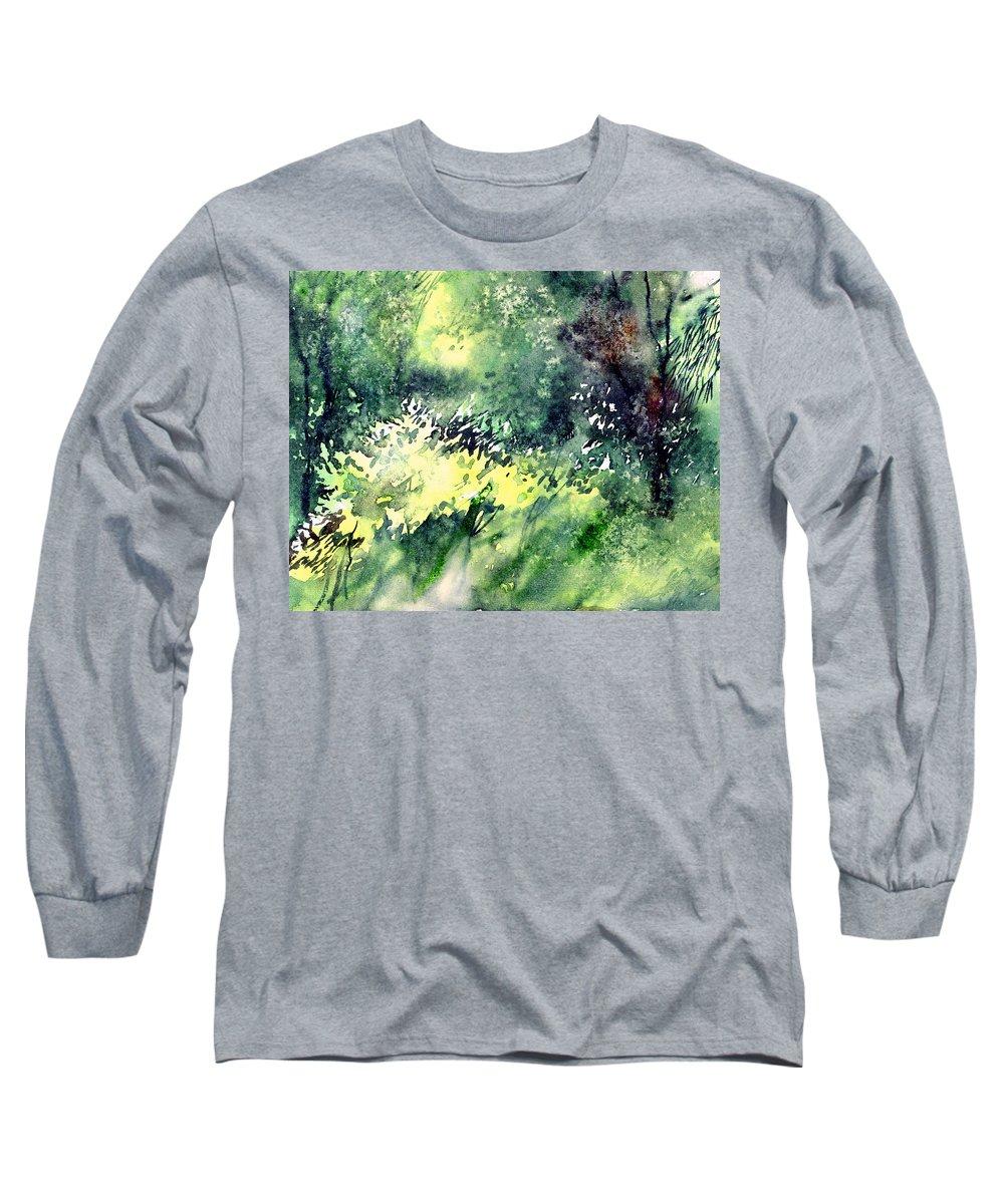 Landscape Watercolor Nature Greenery Rain Long Sleeve T-Shirt featuring the painting Rain Gloss by Anil Nene