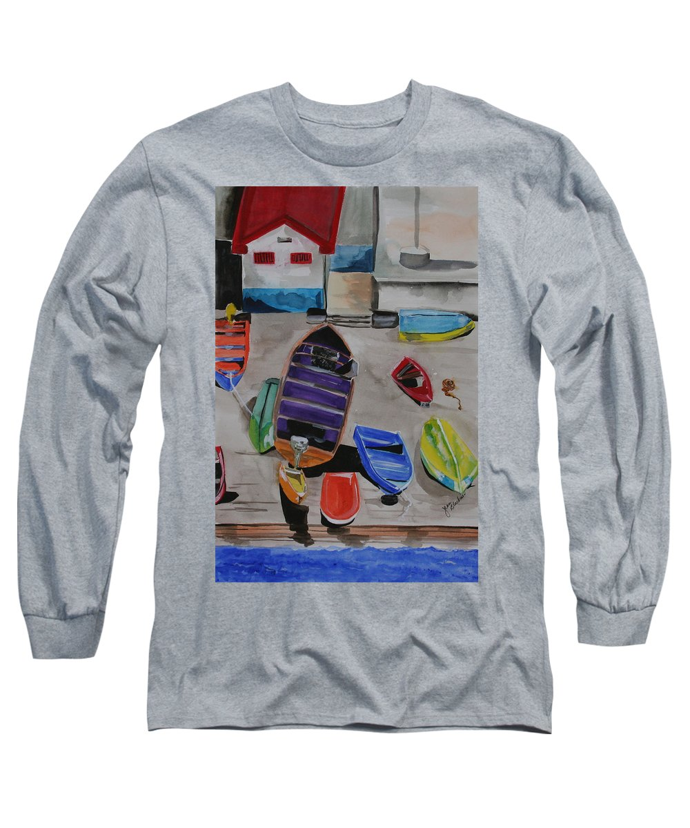 Boats Long Sleeve T-Shirt featuring the painting Rainbow On The Dock by Jean Blackmer