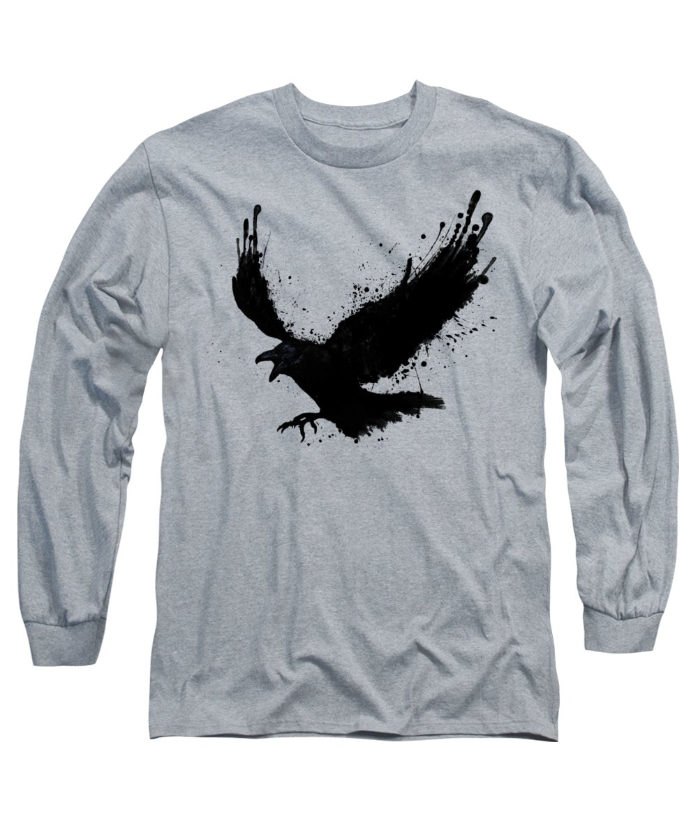 Raven Long Sleeve T-Shirt featuring the digital art Raven by Nicklas Gustafsson