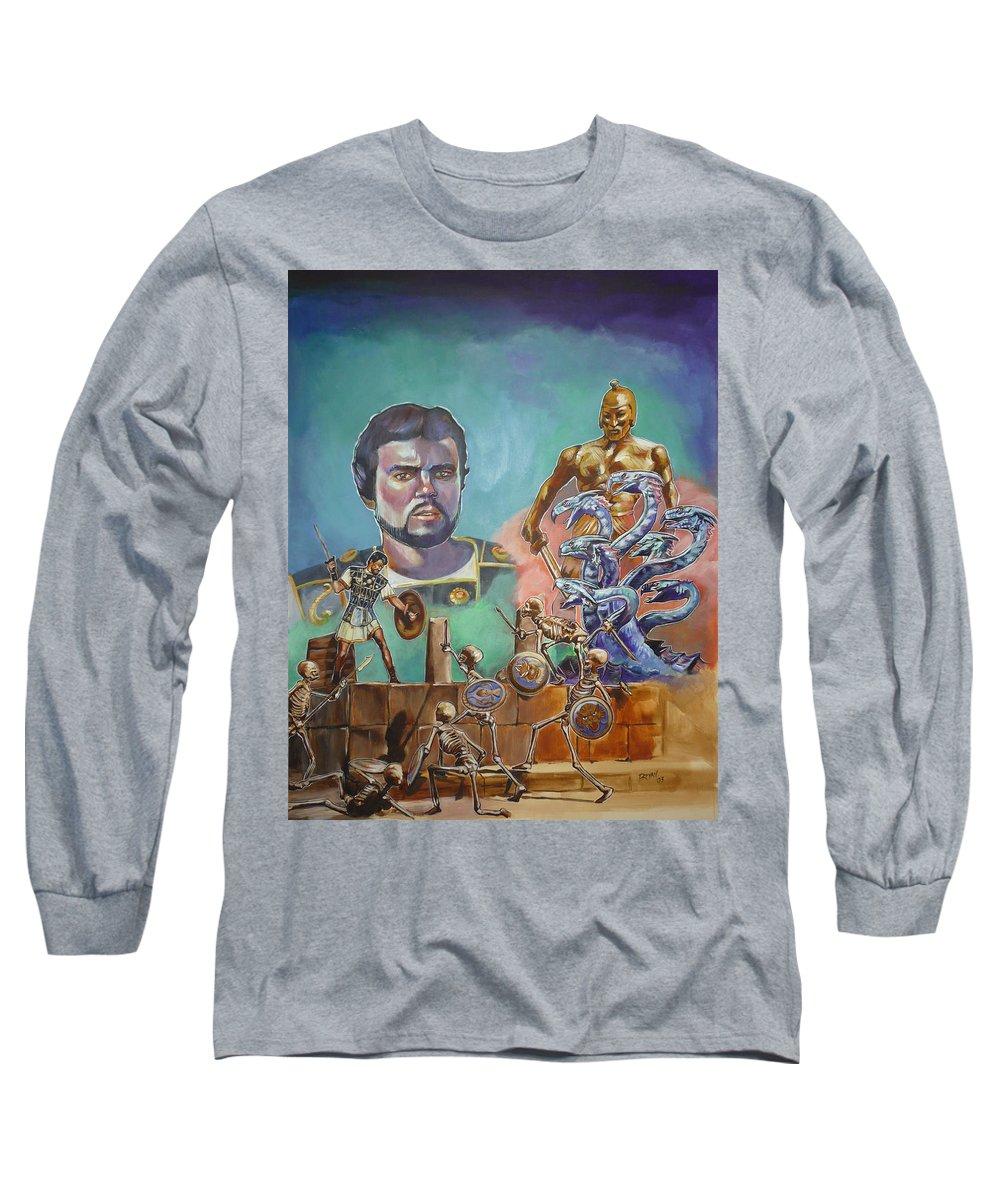 Jason Argonauts Hydra Talos Skeletons Movie Harryhausen Fantasy Sci-fi Long Sleeve T-Shirt featuring the painting Ray Harryhausen Tribute Jason And The Argonauts by Bryan Bustard