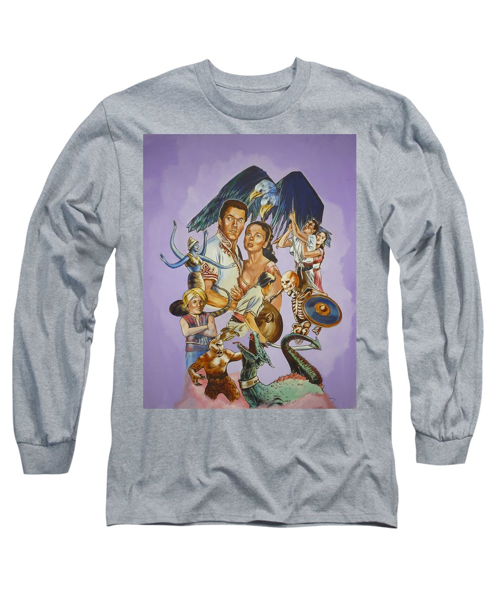 Movie Long Sleeve T-Shirt featuring the painting Ray Harryhausen Tribute Seventh Voyage Of Sinbad by Bryan Bustard