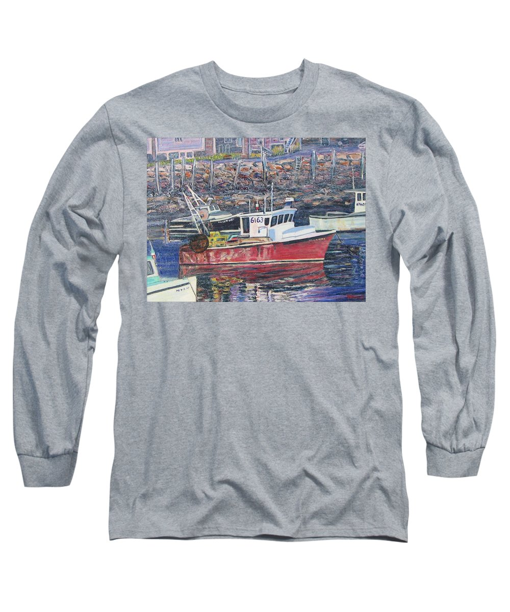 Boat Long Sleeve T-Shirt featuring the painting Red Boat Reflections by Richard Nowak