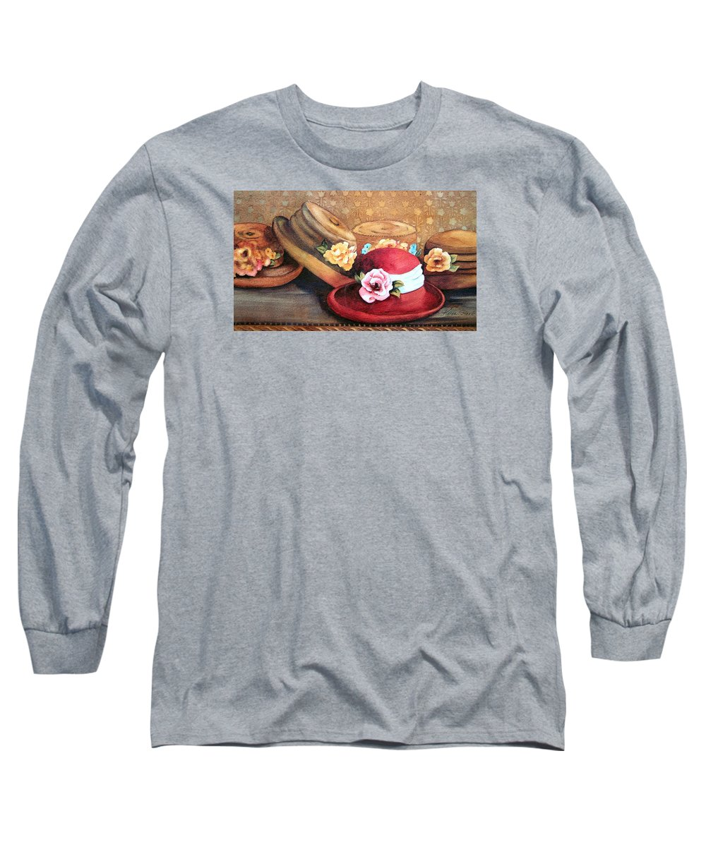 Hat Long Sleeve T-Shirt featuring the painting Red Hat by Karen Stark